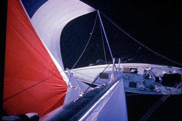 Spinnaker Photograph - Red-topped Spinnaker Bellying Out From N by George Silk