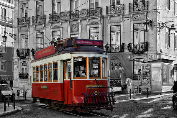 Wall Art - Photograph - red tourist-Tramway Lisbon by Joachim G Pinkawa