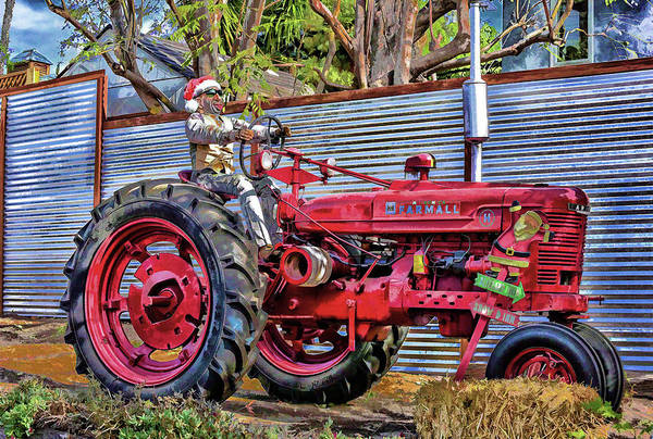 Tillage Digital Art - Red Tractor Abstract 1 by Linda Brody