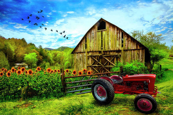 Wall Art - Photograph - Red Tractor At The Farm by Debra and Dave Vanderlaan