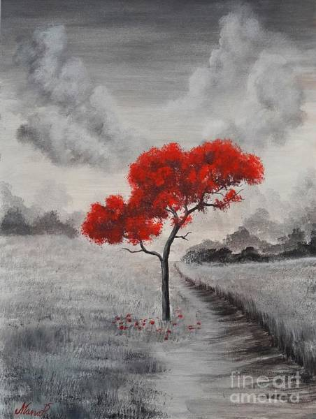 Painting - Red Tree by Manar Hawsawi