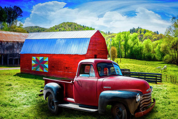 Photograph - Red Truck At The Red Barn by Debra and Dave Vanderlaan