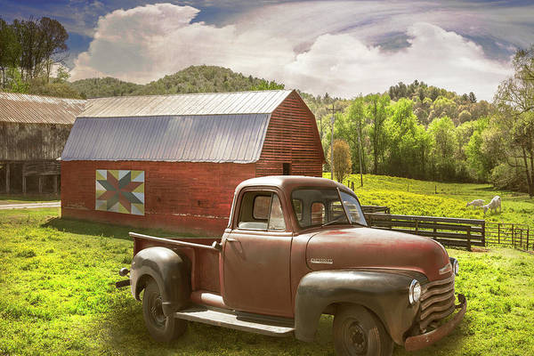 Wall Art - Photograph - Red Truck At The Red Barn In Summer Light by Debra and Dave Vanderlaan