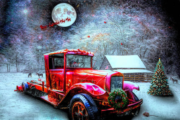 Photograph - Red Truck On Christmas Eve  by Debra and Dave Vanderlaan