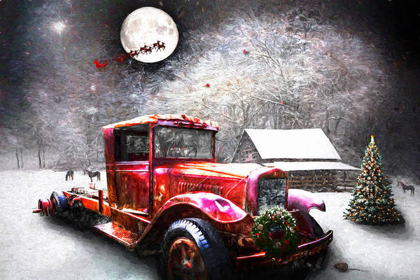 Photograph - Red Truck On Christmas Eve Oil Painting by Debra and Dave Vanderlaan