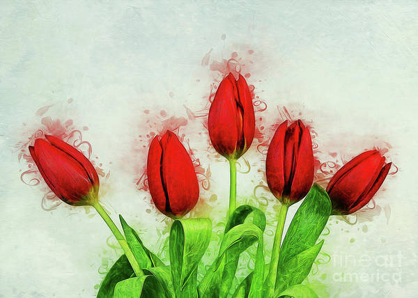 Digital Art - Red Tulips by Ian Mitchell