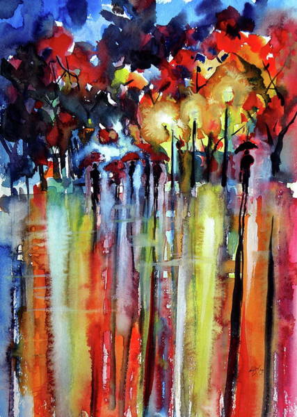 Wall Art - Painting - Red Umbrellas At Night by Kovacs Anna Brigitta