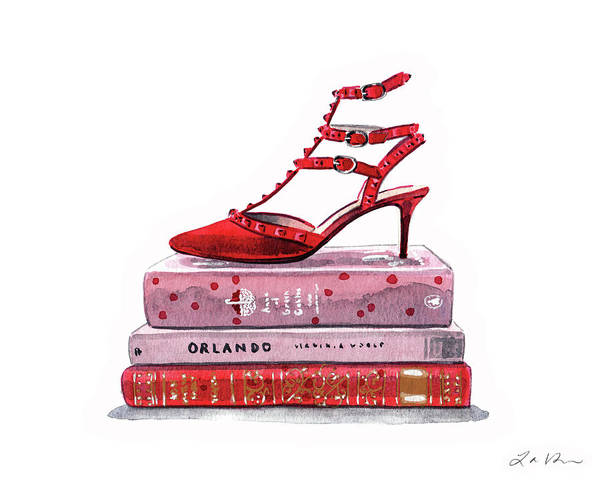 Wall Art - Painting - Red Valentino Rockstud Shoes On Books by Laura Row