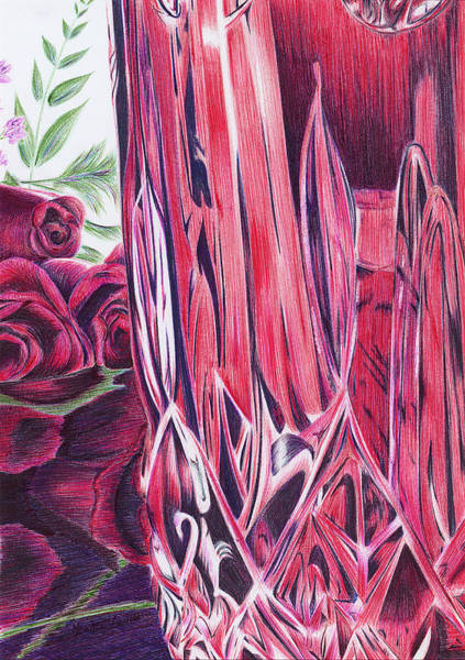 Wall Art - Drawing - Red Vase And Roses by Katie Lovett