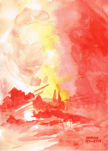 Red Village Abstract 1 Art Print