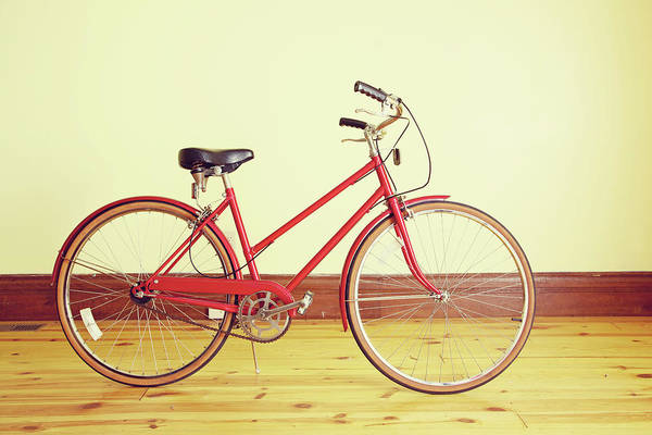 Pedal Wall Art - Photograph - Red Vintage Retro Bicycle Abstract by Eyecrave