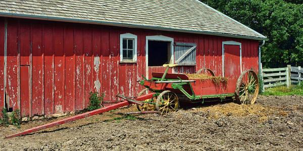 Wall Art - Photograph - Red Wagon - Red Barn by Nikolyn McDonald