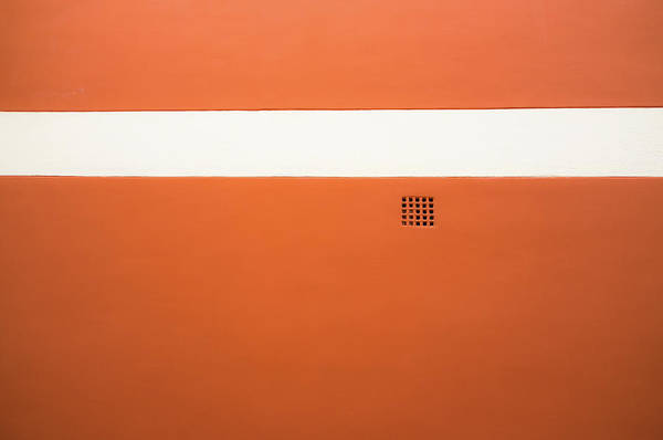 Horizontal Stripes Photograph - Red Wall With White Stripe And Grate by M. Ivkovic - Bangphoto.co.uk
