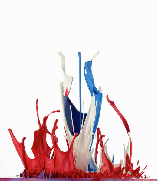 Vertical Abstract Photograph - Red White And Blue Abstract Liquid by Don Farrall