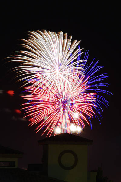 Photograph - Red, White And Blue Fireworks Over Las Cruces, New Mexico by Chance Kafka