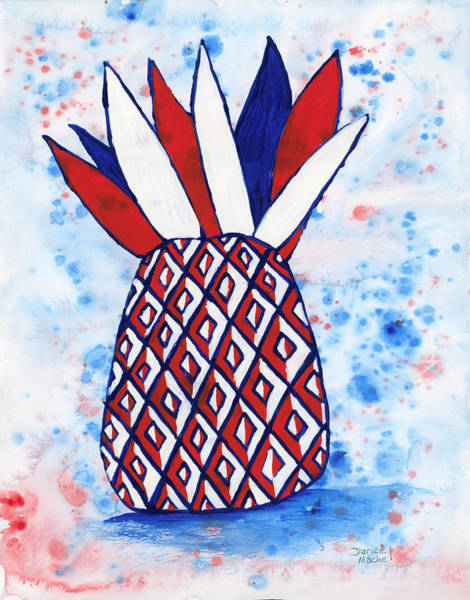 Painting - Red White And Blue Pineapple by Darice Machel McGuire