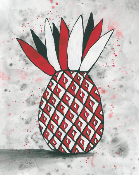 Painting - Red White Black Pineapple by Darice Machel McGuire