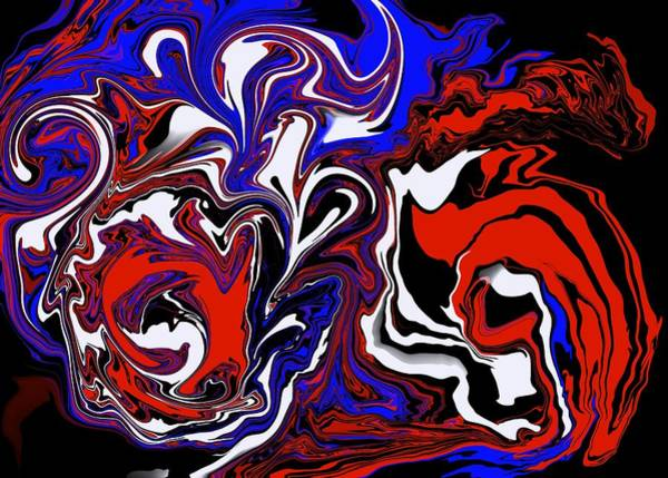 Wall Art - Mixed Media - Red White Blue And Black Abstract  by Lisa Stanley