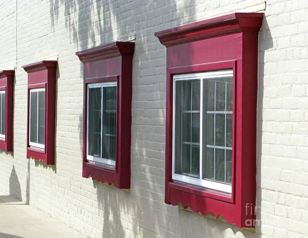 Photograph - Red Windows In A Row by Ann Horn