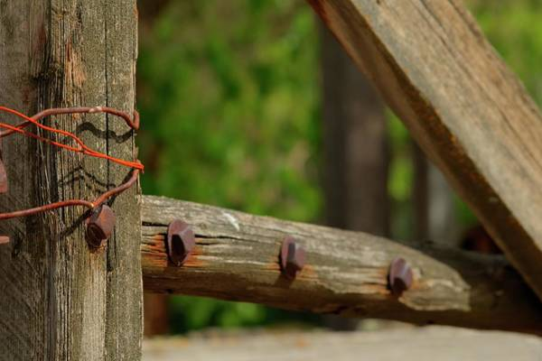 Photograph - Red Wire Wood Gate by Jerry Sodorff
