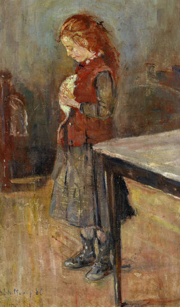Wall Art - Painting - Redhaired Girl With White Rat by Edvard Munch