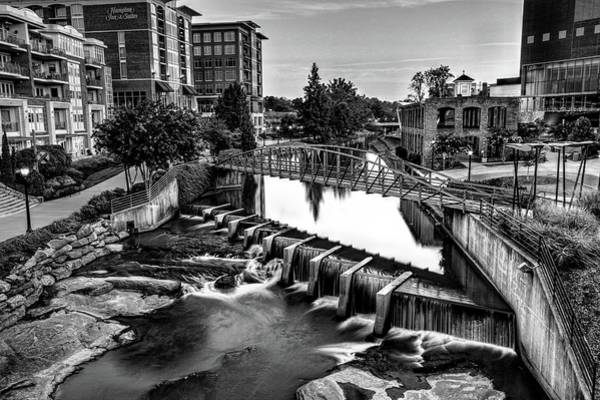 Photograph - Reedy River In Downtown Greenville Sc Black And White by Carol Montoya