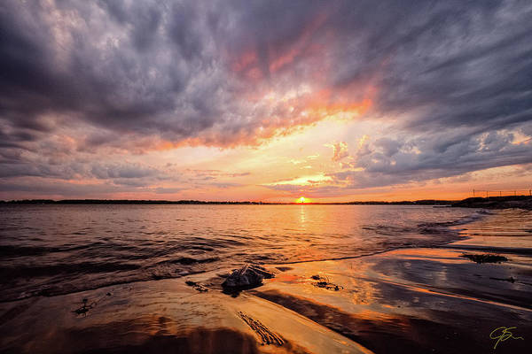 Photograph - Reflect The Drama, Sunset At Fort Foster Park by Jeff Sinon
