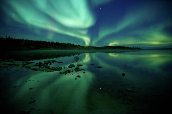 Yellowknife Wall Art - Photograph - Reflected Northern Lights On Clear Water by Steve Schwarz