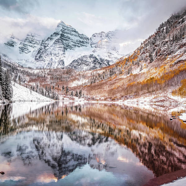 Photograph - Reflected Perfection - Maroon Bells Peaks In Autumn by Gregory Ballos