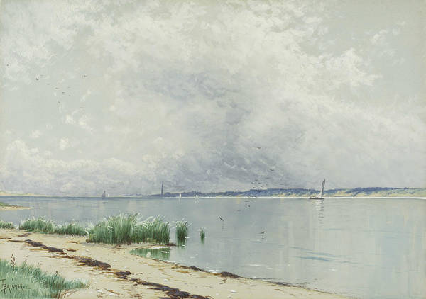Wall Art - Drawing - Reflected Reeds by Alfred Thompson Bricher