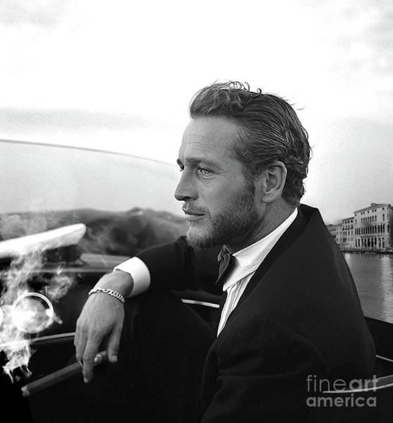 St Louis Cardinals Mixed Media - Reflecting, Paul Newman, Movie Star, Cruising Venice, Enjoying A Cuban Cigar, Black And White by Thomas Pollart