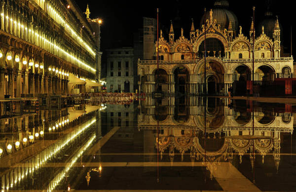 St Mark's Basilica Photograph - Reflection, Flood Water, Unesco World by Rainer Martini / Look-foto