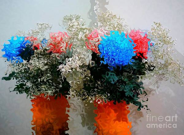 Reflection Of Flowers In The Mirror In Van Gogh Style Art Print