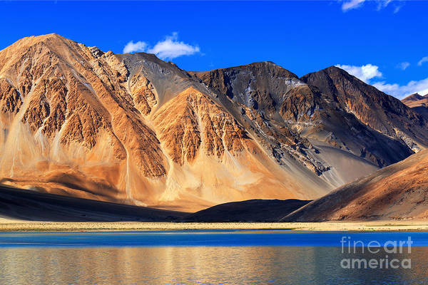 Remote Photograph - Reflection Of Mountains On Pangong Tso by Rudra Narayan Mitra