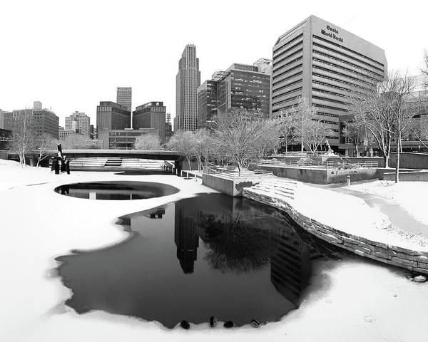 Wall Art - Photograph - Reflection Of Omaha - Winter - Black And White by Nikolyn McDonald