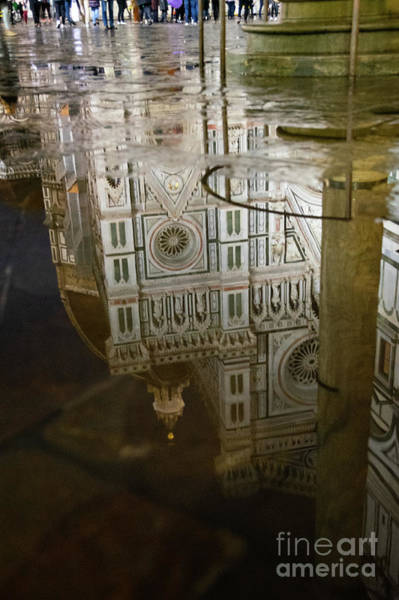 Photograph - Reflections El Duomo The Florence Italy Cathedral by Wayne Moran