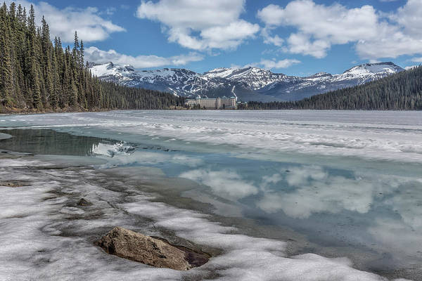 Photograph - Reflections In A Partially Thawed Lake Louise by Belinda Greb