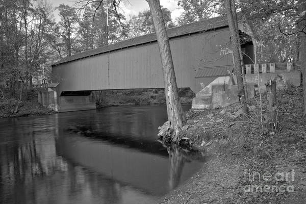 Photograph - Reflections In The New Yok Battenkill River Black And White by Adam Jewell