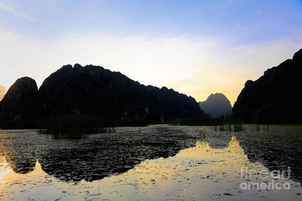 Wall Art - Photograph - Reflections Lake Van Long Vietnam  by Chuck Kuhn