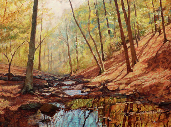 Happy Little Trees Painting - Reflections - Little Stony Creek At Peaks Of Otter by Bonnie Mason