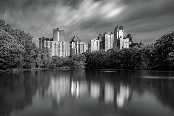 Photograph - Reflections Of Atlanta - Black And White Monochrome  by Gregory Ballos