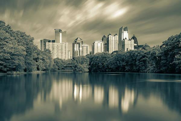 Photograph - Reflections Of Atlanta - Sepia Monochrome  by Gregory Ballos