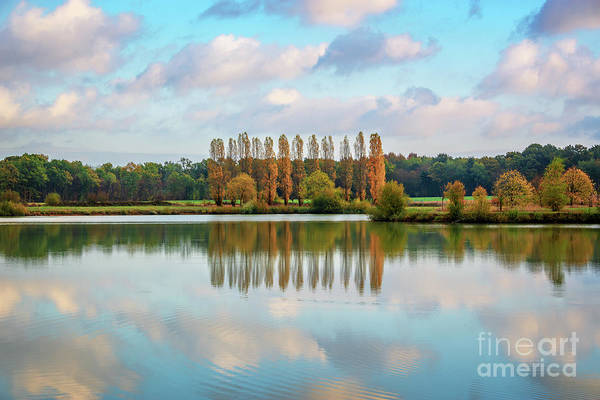 Autumn Scenes Photograph - Reflections Of Clouds In A Pond by Delphimages Photo Creations