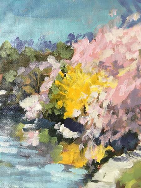 Wall Art - Painting - Reflections Of Forsythia by Susan Elizabeth Jones