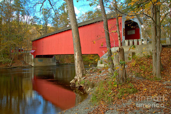 Photograph - Reflections Of The Eagleville Covered Bridge by Adam Jewell