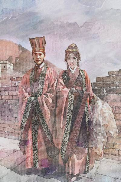 Wall Art - Digital Art - Regal Couple At The Great Wall In Watercolor by Toni Abdnour