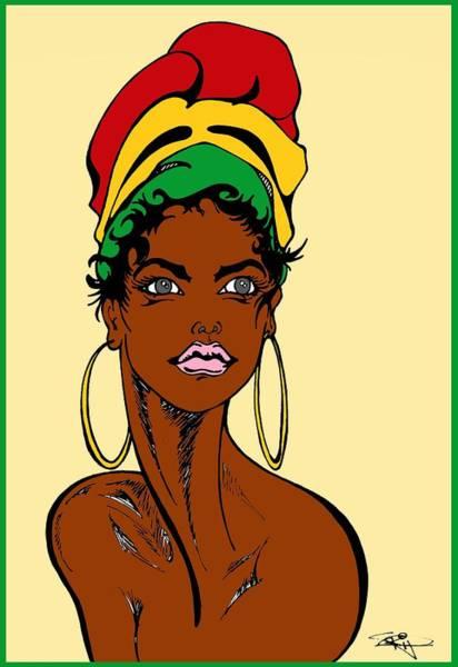 Fall Flowers Drawing - Reggae Head Wrap by SKIP Smith