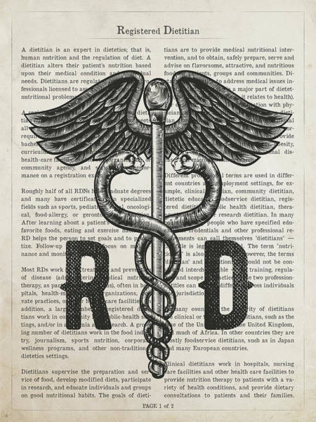 Wall Art - Digital Art - Registered Dietitian Gift Idea With Caduceus Illustration 01 by Aged Pixel
