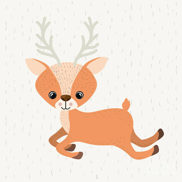 Reindeer Wall Art - Digital Art - Reindeer Cute Wildlife Icon Vector by Grmarc