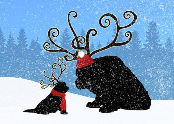 Wall Art - Digital Art - Reindeer Newfs Holiday Card by Christine Mullis